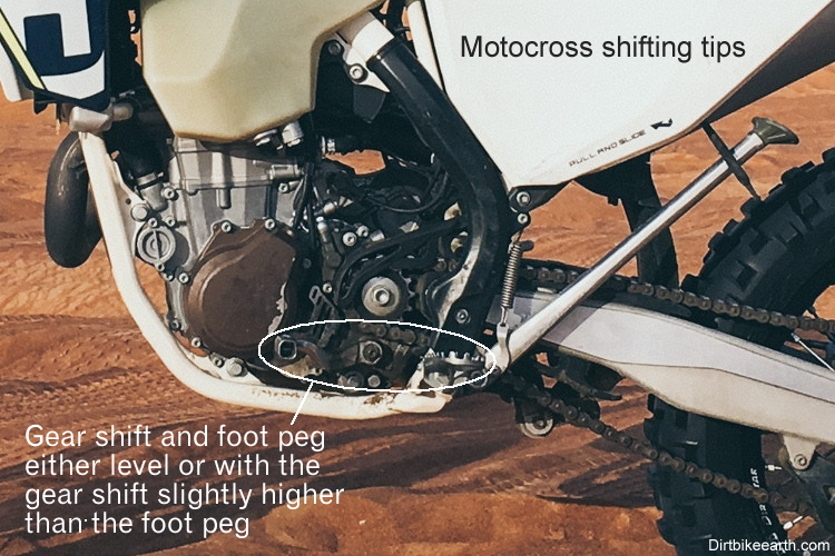 Motocross Shifting Tips - gear shift level with foot peg or slightly higher